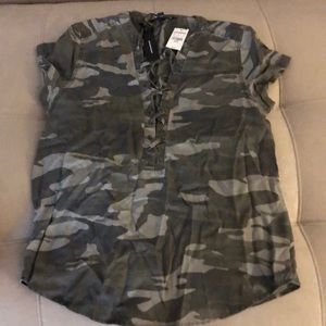 Cap sleeve camouflage lace up top lightweight